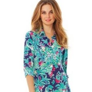 New Lilly Pulitzer Isla top bright navy blouse